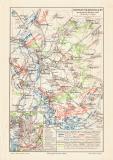 Leipziger Völkerschlacht historische Landkarte...