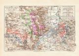 Schlachten um Metz historische Landkarte Lithographie ca....