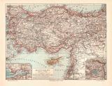 Kleinasien historische Landkarte Lithographie ca. 1908