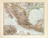 Mexiko historische Landkarte Lithographie ca. 1906