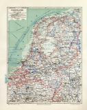 Niederlande historische Landkarte Lithographie ca. 1906