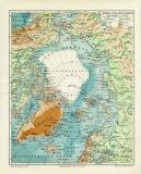 Nord Polarländer Karte Lithographie 1906 Original...