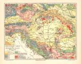 Österreich Ungarn Geologie historische Landkarte...