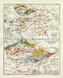 Österreich Ungarn Industrie historische Landkarte...