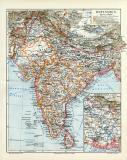 Ostindien historische Landkarte Lithographie ca. 1906