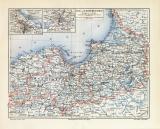 Ost & Westpreussen historische Landkarte Lithographie...