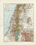 Palästina historische Landkarte Lithographie ca. 1906