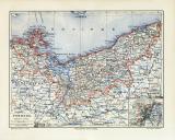 Pommern historische Landkarte Lithographie ca. 1906
