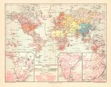 Welt Religion Missionierung historische Landkarte...