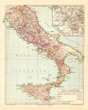Rom und Altitalien historische Landkarte Lithographie ca....