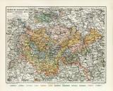 Sächsische Herzogtümer historische Landkarte...