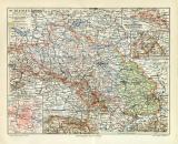Schlesien Karte Lithographie 1907 Original der Zeit