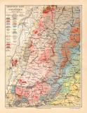 Schwarzwald Geologie Karte Lithographie 1907 Original der...