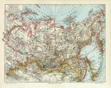 Sibirien historische Landkarte Lithographie ca. 1907