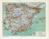 Spanien & Portugal Karte Lithographie 1907 Original...