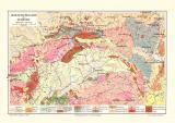 Sudeten Geologie historische Landkarte Lithographie ca. 1908
