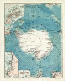 Süd Polarländer Karte Lithographie 1908...