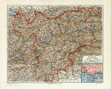 Tirol historische Landkarte Lithographie ca. 1907