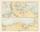 Leuchtfeuer Nordsee Ostsee historische Landkarte...