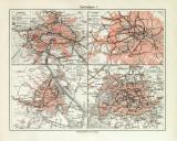 Stadtbahnen I. historische Landkarte Lithographie ca. 1907