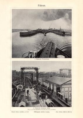 Fähren historischer Druck Autotypie ca. 1909