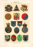 Wappen IV. Amerika Asien Afrika historischer Druck...