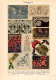 Volkskunst I. Textilien Chromolithographie 1913 Original...