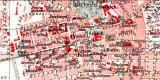 Darmstadt historischer Stadtplan Karte Lithographie ca. 1913