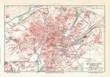 Mülhausen historischer Stadtplan Karte Lithographie...