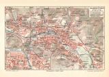 Saarbrücken historischer Stadtplan Karte Lithographie ca. 1913