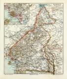 Kamerun historische Landkarte Lithographie ca. 1909