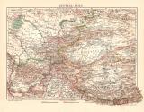 Zentralasien historische Landkarte Lithographie ca. 1908