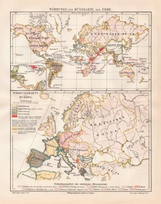 Erde + Europa Währungen und Münzen historische Landkarte Lithographie ca. 1909