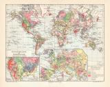 Erde Geologie historische Landkarte Lithographie ca. 1910