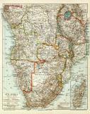 Südafrika historische Landkarte Lithographie ca. 1910