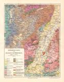 Elsass Lothringen Geologie historische Landkarte...