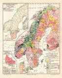 Skandinavien Geologie historische Landkarte Lithographie ca. 1913