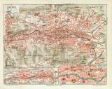 Barmen historischer Stadtplan Karte Lithographie ca. 1910