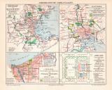 Amerikanische Parkanlagen Stadtplan Lithographie 1912...