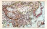 China & Japan Karte Lithographie 1913 Original der Zeit