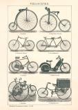 Velociped Fahrrad Holzstich 1892 Original der Zeit