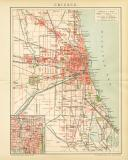 Chicago Stadtplan Lithographie 1892 Original der Zeit