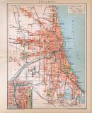 Chicago Stadtplan Lithographie 1896 Original der Zeit
