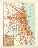 Chicago Stadtplan Lithographie 1897 Original der Zeit