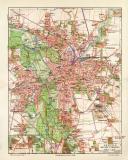 Leipzig und Vororte historischer Stadtplan Karte...
