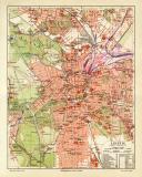 Leipzig historischer Stadtplan Karte Lithographie ca. 1906