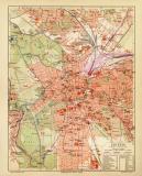 Leipzig historischer Stadtplan Karte Lithographie ca. 1908