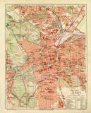 Leipzig historischer Stadtplan Karte Lithographie ca. 1909