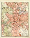 Leipzig historischer Stadtplan Karte Lithographie ca. 1914