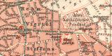 Aachen historischer Stadtplan Karte Lithographie ca. 1907